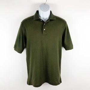 Lands' End Olive Short Sleeve Men's Polo Shirt Sm